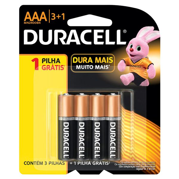 Pilha Duracell Palito AAA Leve 4 pague 3