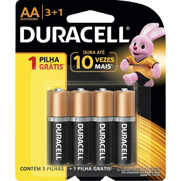 Pilha Duracell Pequena AA Leve 4 pague 3