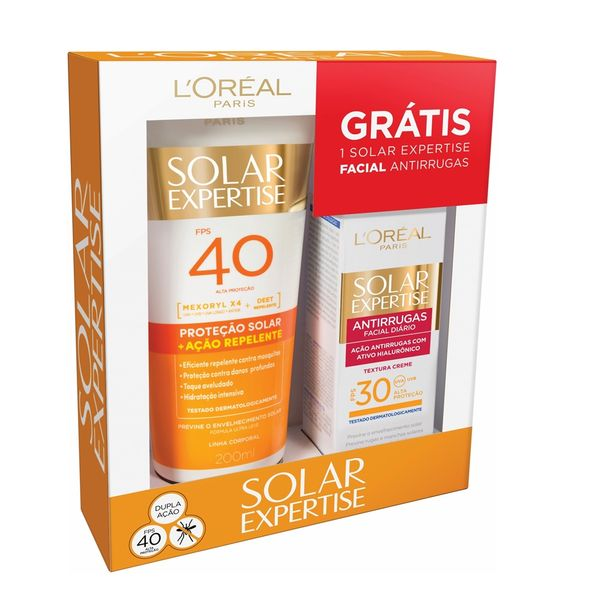 053e9da40 Protetor Solar e Repelente Loreal Expertise 200ml + Antirrugas FPS 30 25g