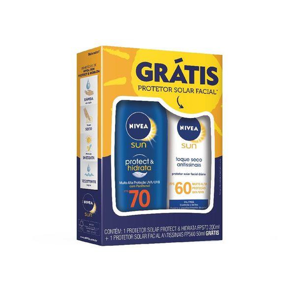 fabf32480 Protetor solar Nivea Protect   Hidrata FPS-70 200ml Grátis Protetor solar  Facial antissinais FPS-60 50ml